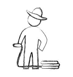 Worker gardener pictogram vector