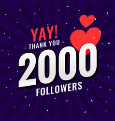 2000 follower social media network thank you post vector