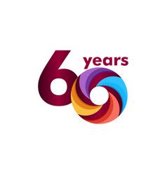 60 year anniversary colorful template design vector