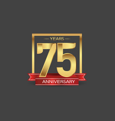 75 years anniversary logo style with golden vector