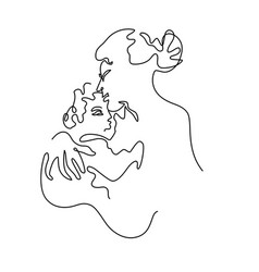 Abstract portrait a mother kiss baby vector