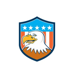 American Bald Eagle Head Smiling Flag Cartoon vector image vector image