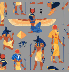 ancient egypt vintage seamless pattern with vector image