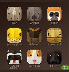 Animal faces for app icons-set 24 vector