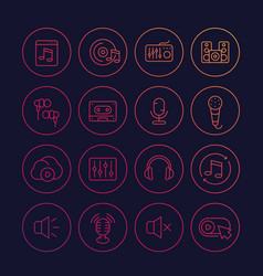 audio music and sound line icons set vector image
