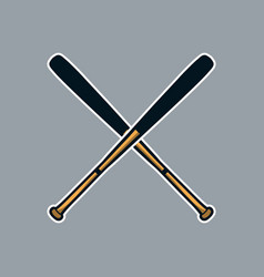 baseball bat cross x logo icon asset vector image