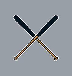 Baseball bat cross x logo icon asset vector