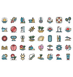 beach landscape icons set flat vector image