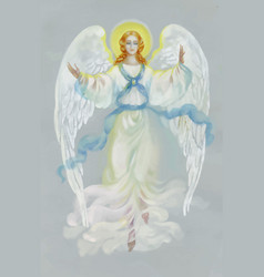 Beautiful angel with wings on grey background vector