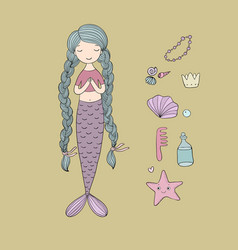 beautiful cute cartoon mermaid with long hair vector image