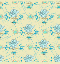 Blue roses on a light background abstract pattern vector
