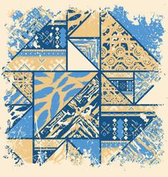 Boho abstract blue frame vector