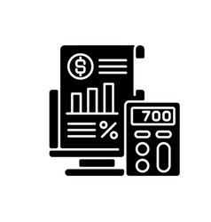 Bookkeeping and audit black glyph icon vector