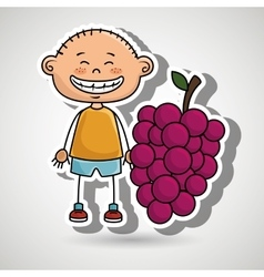 boy fruit cartoon food vector image