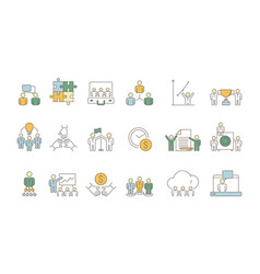 business team symbols office work of peoples vector image