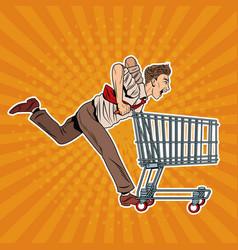 businessman pushing shopping cart vector image