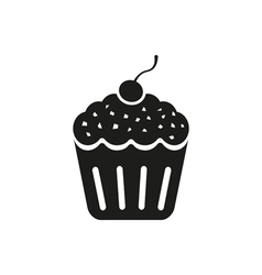 Cherry cupcake icon on a white background vector image