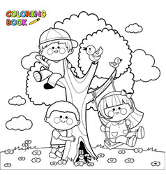 children playing on a tree vector image