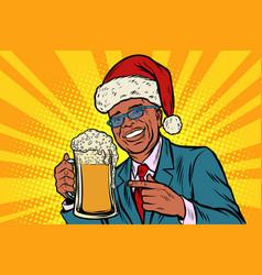 christmas and new year man with a mug of beer vector image