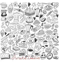 Coffee and sweets - doodles vector