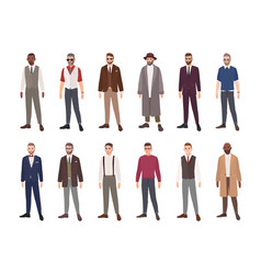 collection handsome men dressed in elegant vector image