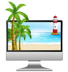 Computer on table with beach on screen vector