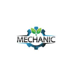 creative blue gear leaf plant logo design vector image