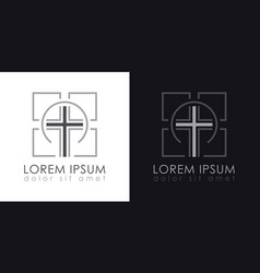 Cross logo christian symbols vector