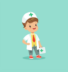 Cute little doctor standing vector