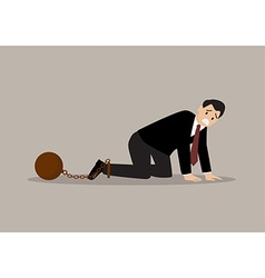 Desperate businessman with weight burden vector