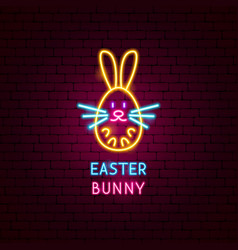 Easter bunny neon label vector