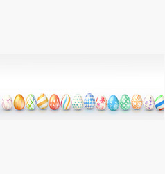 easter eggs with different handmade paintings vector image