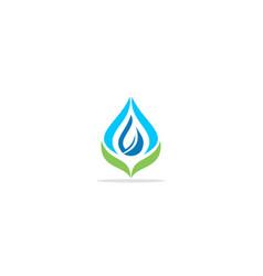 eco droplet green leaf nature logo vector image