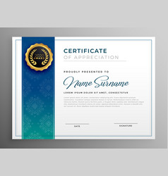 Elegant blue certificate of appreciation template vector