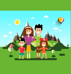 family on holidays landscape with mountains on vector image
