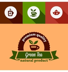 flat green tea design elements vector image