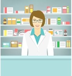 Flat style young pharmacist at pharmacy opposite vector image