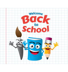 funny cartoon mascots education vector image