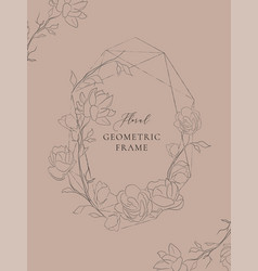 Geometric floral frame with jasmine flowers vector