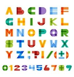 Geometric square colorful english alphabet vector