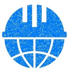 Global Helmet Grainy Texture Icon vector