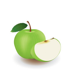 green apple and slice vector image