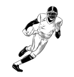 Hand drawn sketch of rugby player in black vector
