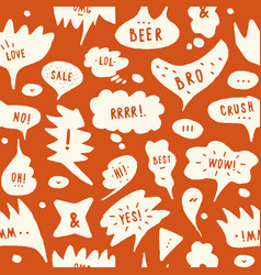 hand-drawn speech bubble seamless pattern vector image