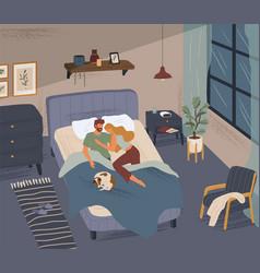 Happy couple sleeping together in modern bedroom vector
