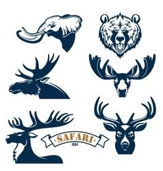 hunting club icons set animals vector image