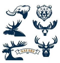Hunting club icons set of animals vector