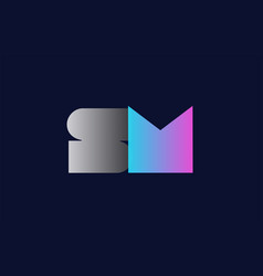 initial alphabet letter sm s m logo company icon vector image