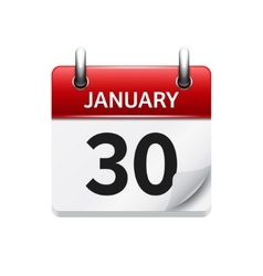 January 30 flat daily calendar icon Date vector
