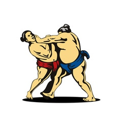 Japanese Sumo Wrestlers Fighting vector